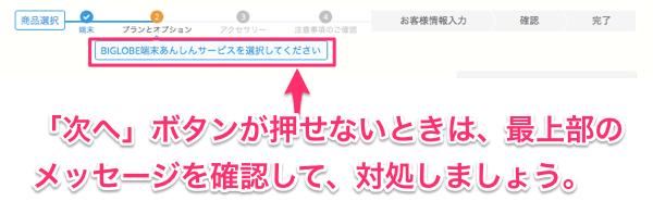 「次へ」ボタンが押せないときは、最上部のメッセージを確認して、対処しましょう。