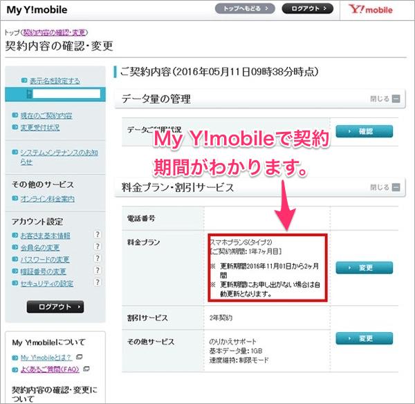 My Y!mobileで契約期間がわかります。