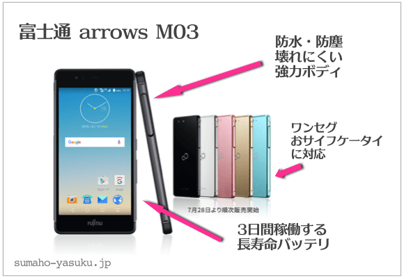 富士通 arrows M03 防水・防塵、壊れにくい強力ボディ、ワンセグ・おサイフケータに対応、3日間稼働する長寿命バッテリ