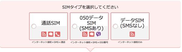 「通話SIM」「050データSIM(SMSあり)」「データSIM(SMSなし)」からSIMタイプを選択します。